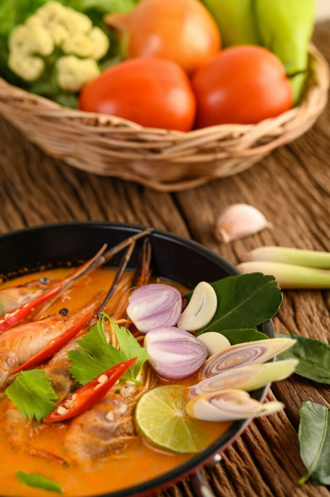 Tom Yum Kung Thai hot spicy soup shrimp with lemon grass,lemon,galangal and chilli, Thailand Food.